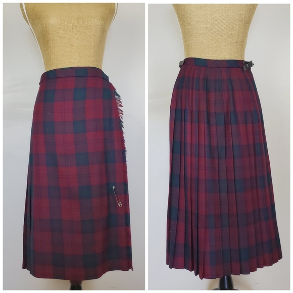 Vintage plaid wrap wool skirt, red blue green